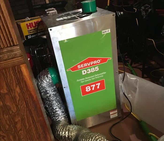 SERVPRO drying equipment in home