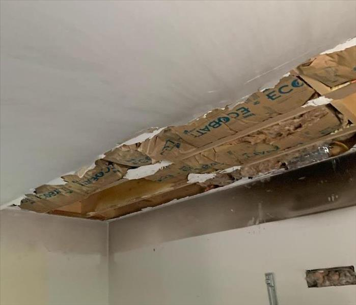 Fire damaged ceiling.